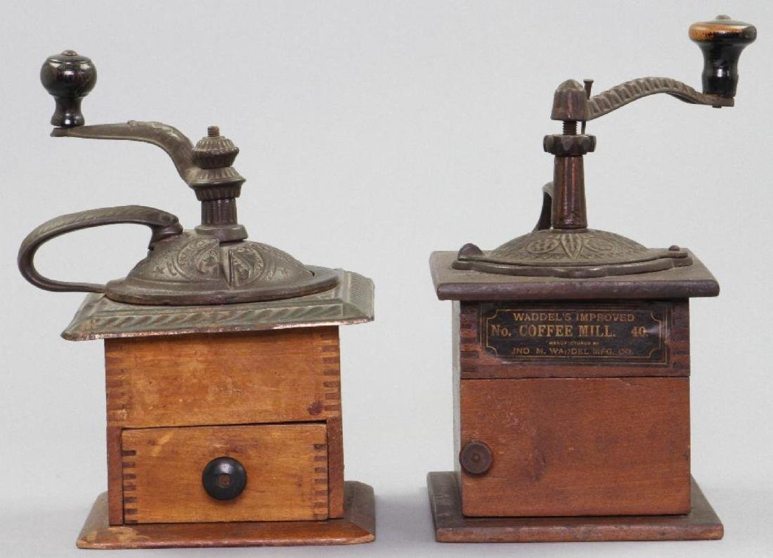 TWO CAST IRON AND WOOD COFFEE GRINDERS, 19THC. - 2