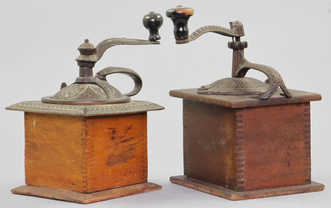 TWO CAST IRON AND WOOD COFFEE GRINDERS, 19THC. - 3