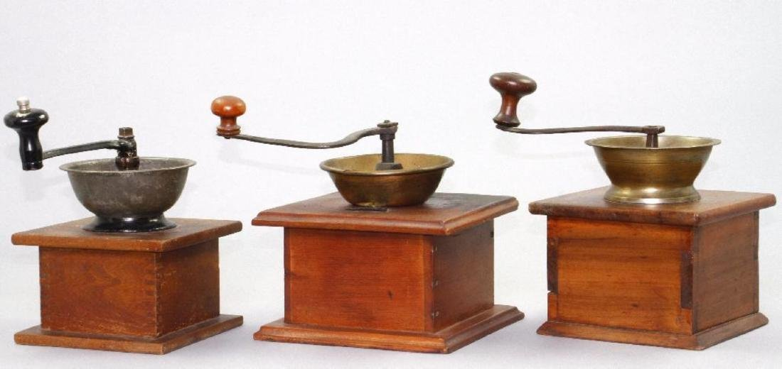 3 CAST IRON , BRASS, AND WOOD, COFFEE GRINDERS, 19THC. - 2