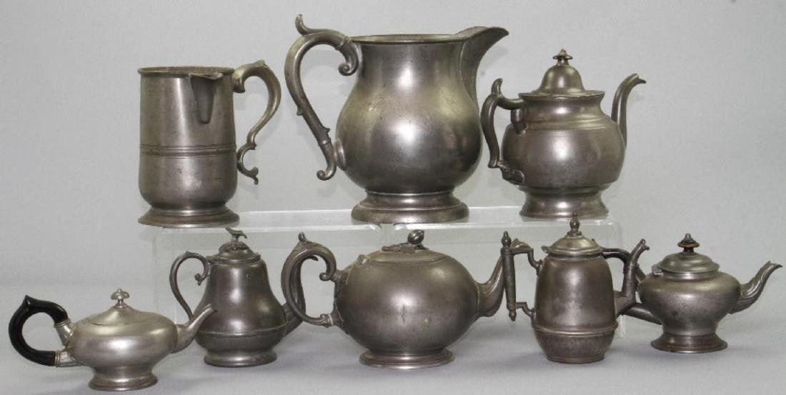 SIX PEWTER AND METAL TEAPOTS, 19TH/20THC.