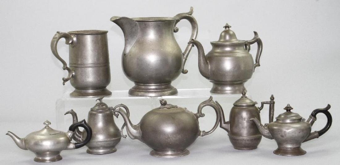 SIX PEWTER AND METAL TEAPOTS, 19TH/20THC. - 2