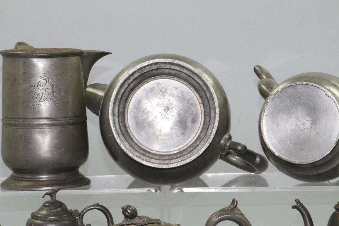 SIX PEWTER AND METAL TEAPOTS, 19TH/20THC. - 3