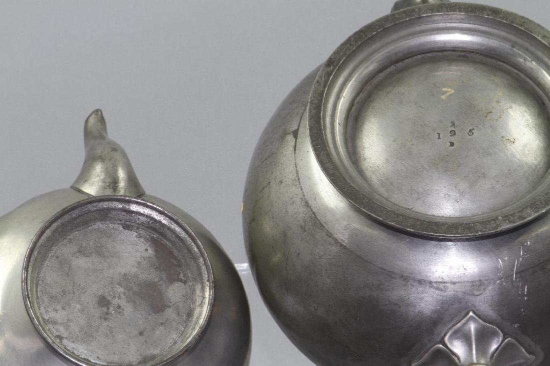 SIX PEWTER AND METAL TEAPOTS, 19TH/20THC. - 5