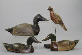 THREE AMERICAN PAINTED DECOYS, AND A SHORE BIRD, 20THC.