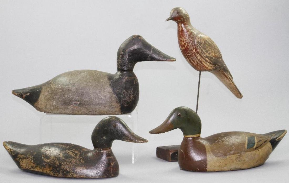 THREE AMERICAN PAINTED DECOYS, AND A SHORE BIRD, 20THC. - 2