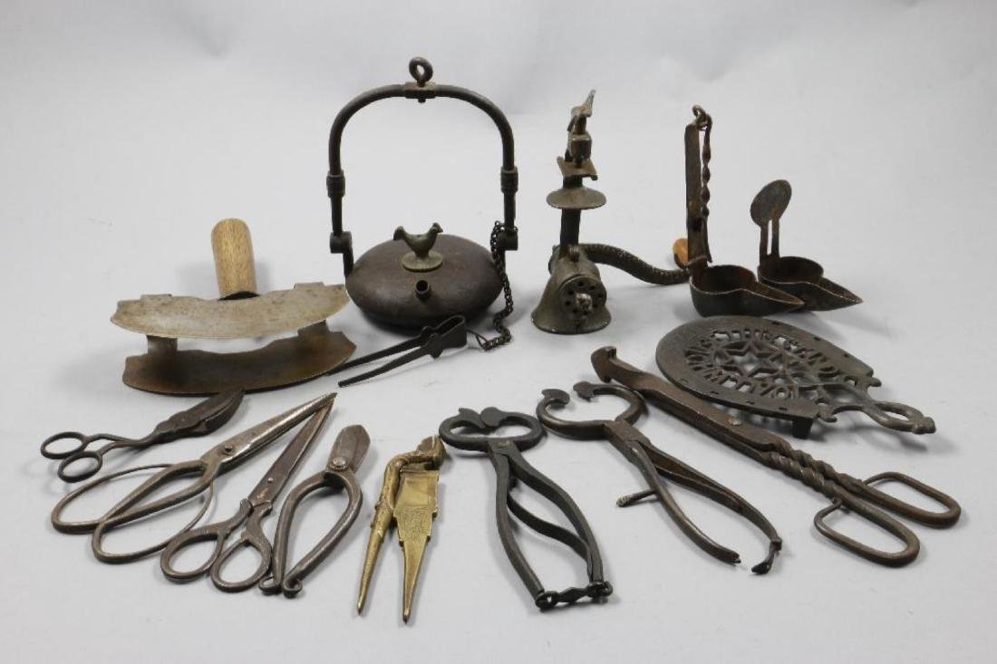 A COLLECTION OF IRON AND BRASS ACCESSORIES, 19THC.