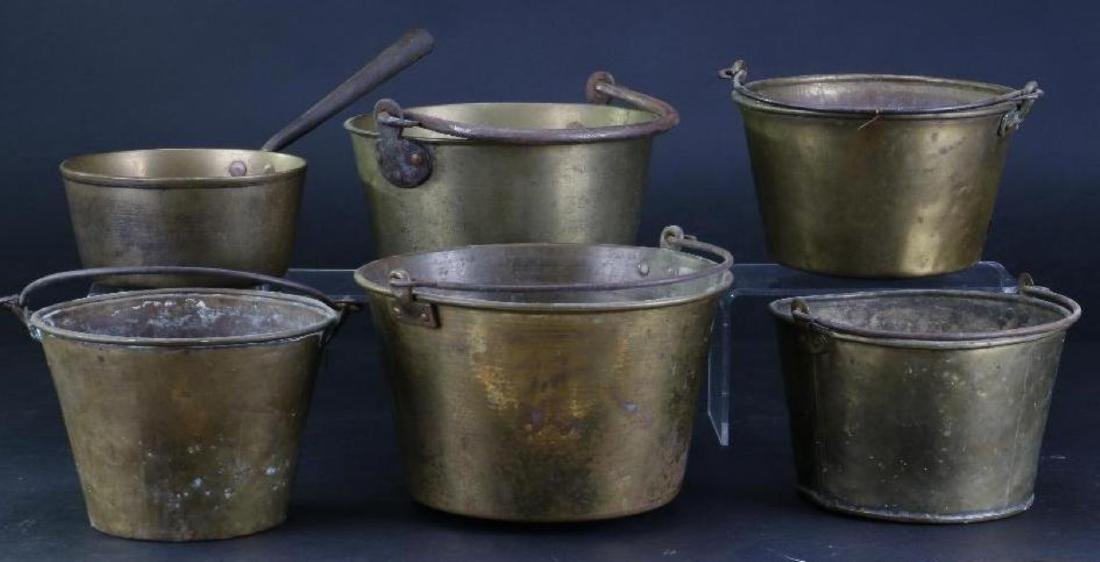 FIVE BRASS PAILS, TOGETHER WITH A HANDLED PAN - 3