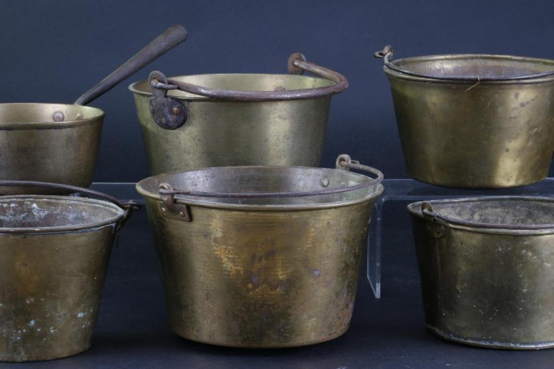 FIVE BRASS PAILS, TOGETHER WITH A HANDLED PAN - 4