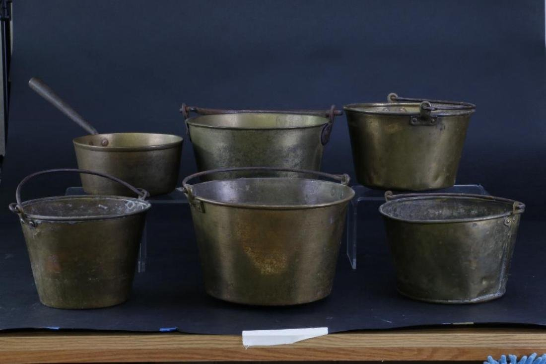 FIVE BRASS PAILS, TOGETHER WITH A HANDLED PAN - 5