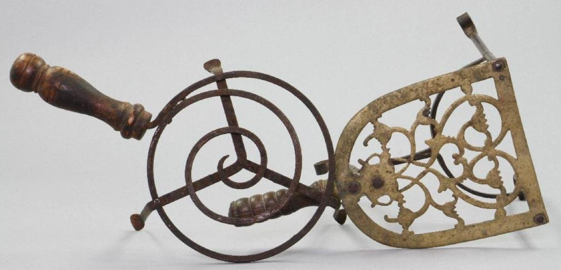 TWO IRON AND BRASS TRIVETS, 19THC. - 2