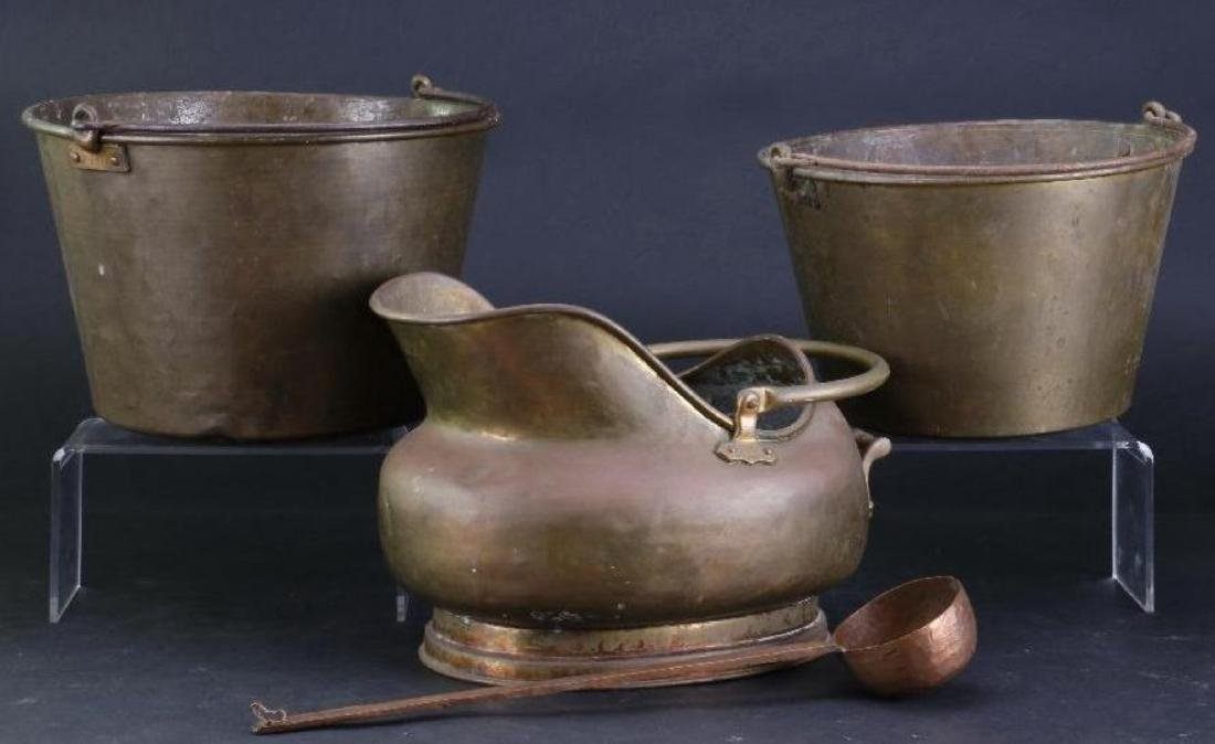 TWO BRASS PAILS, COPPER AND BRASS COAL PAIL 19TH/20THC.