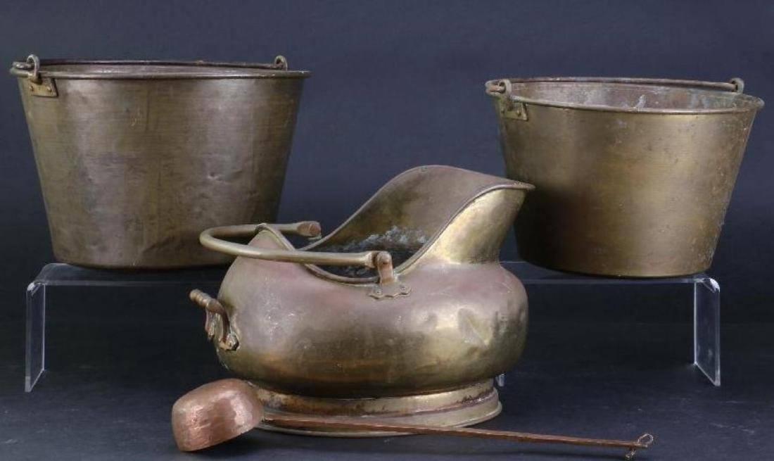 TWO BRASS PAILS, COPPER AND BRASS COAL PAIL 19TH/20THC. - 2