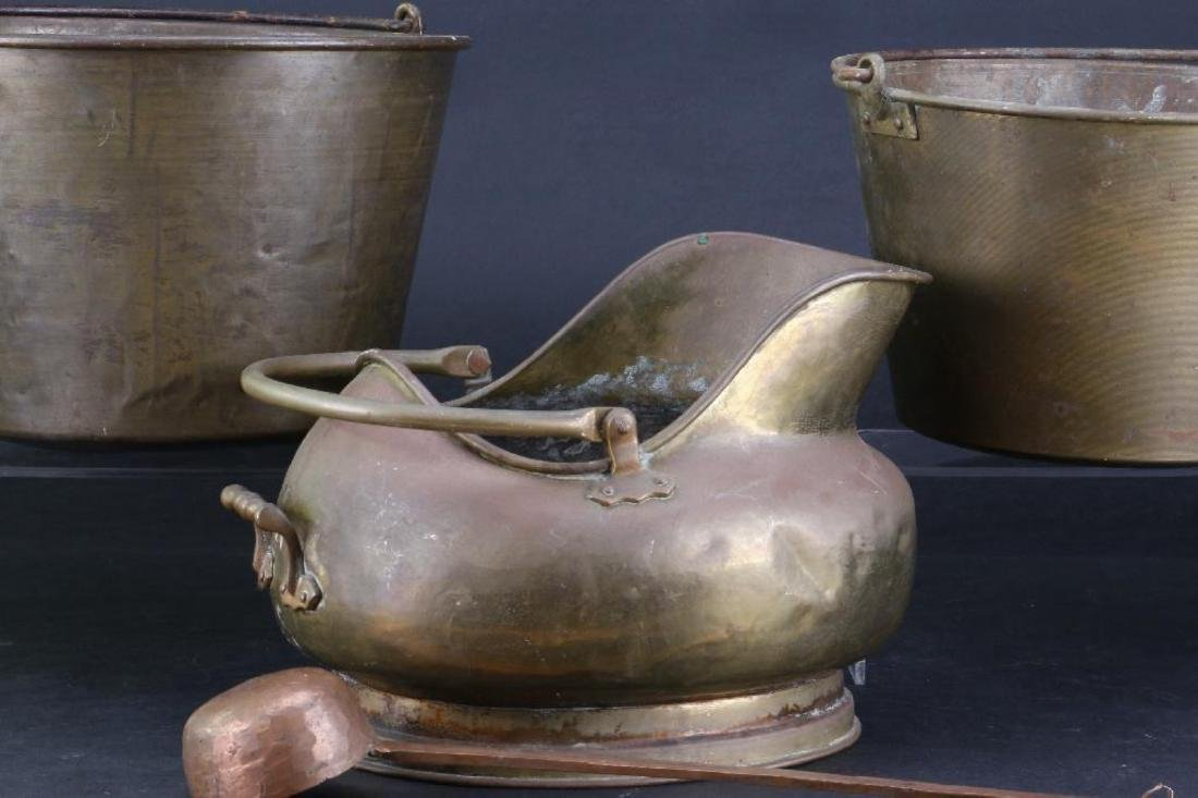 TWO BRASS PAILS, COPPER AND BRASS COAL PAIL 19TH/20THC. - 3