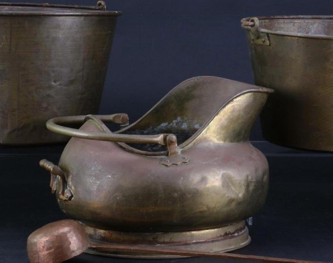 TWO BRASS PAILS, COPPER AND BRASS COAL PAIL 19TH/20THC. - 4