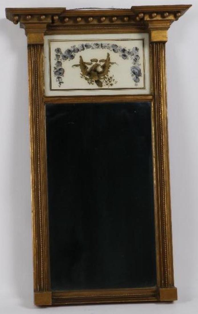 A FEDERAL GILTWOOD AND EGLOMISE MIRROR, EARLY 19THC.