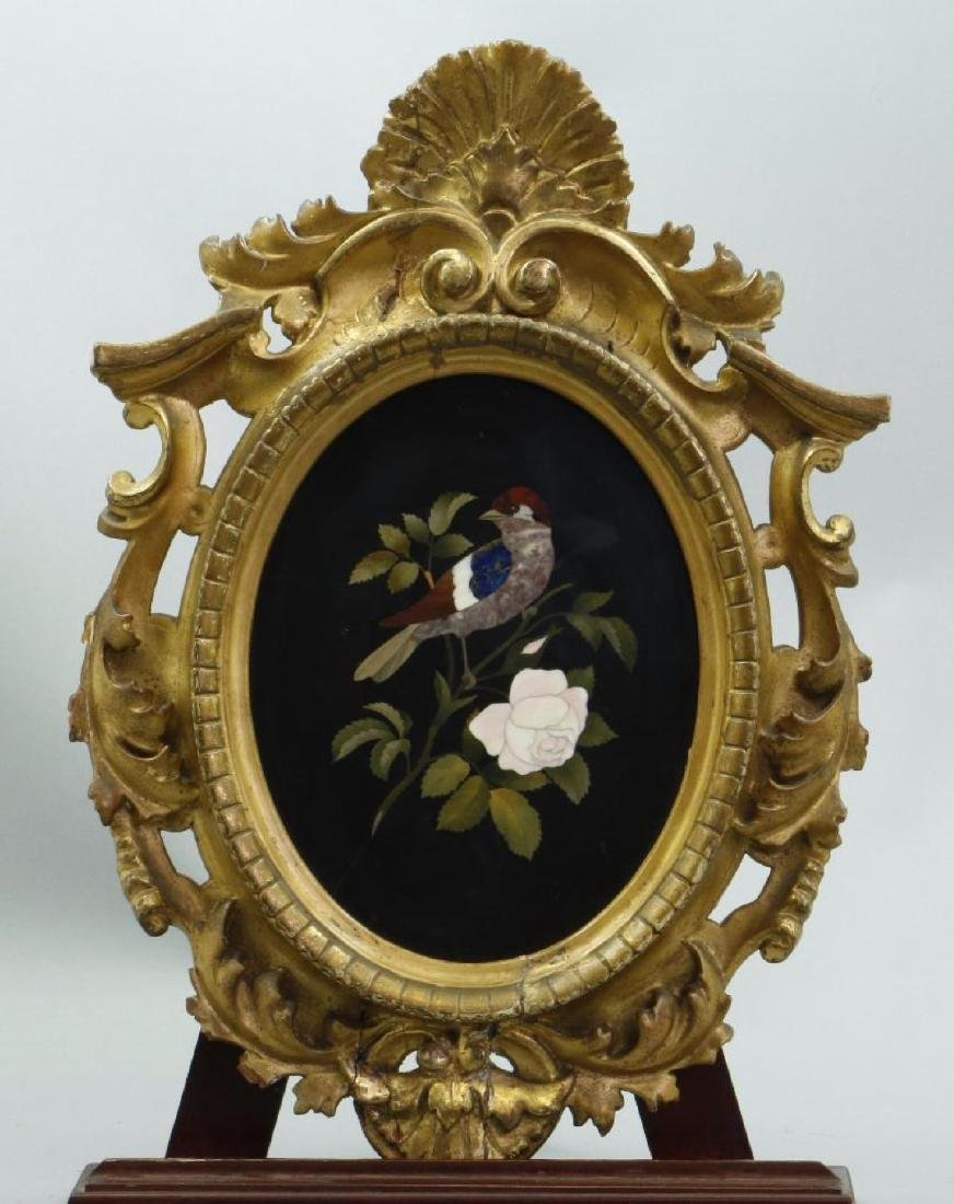ITALIAN PIETRA DURA PICTURE IN A GILTWOOD FRAME, 19THC.