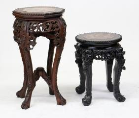 TWO CHINESE EXPORT HARDWOOD MARBLE TOP STANDS