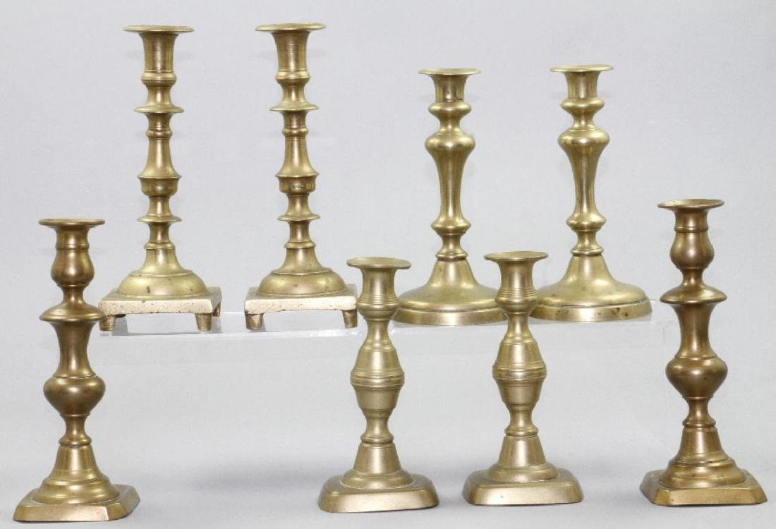 FOUR PAIR OF BRASS CANDLESTICKS, 19THC.