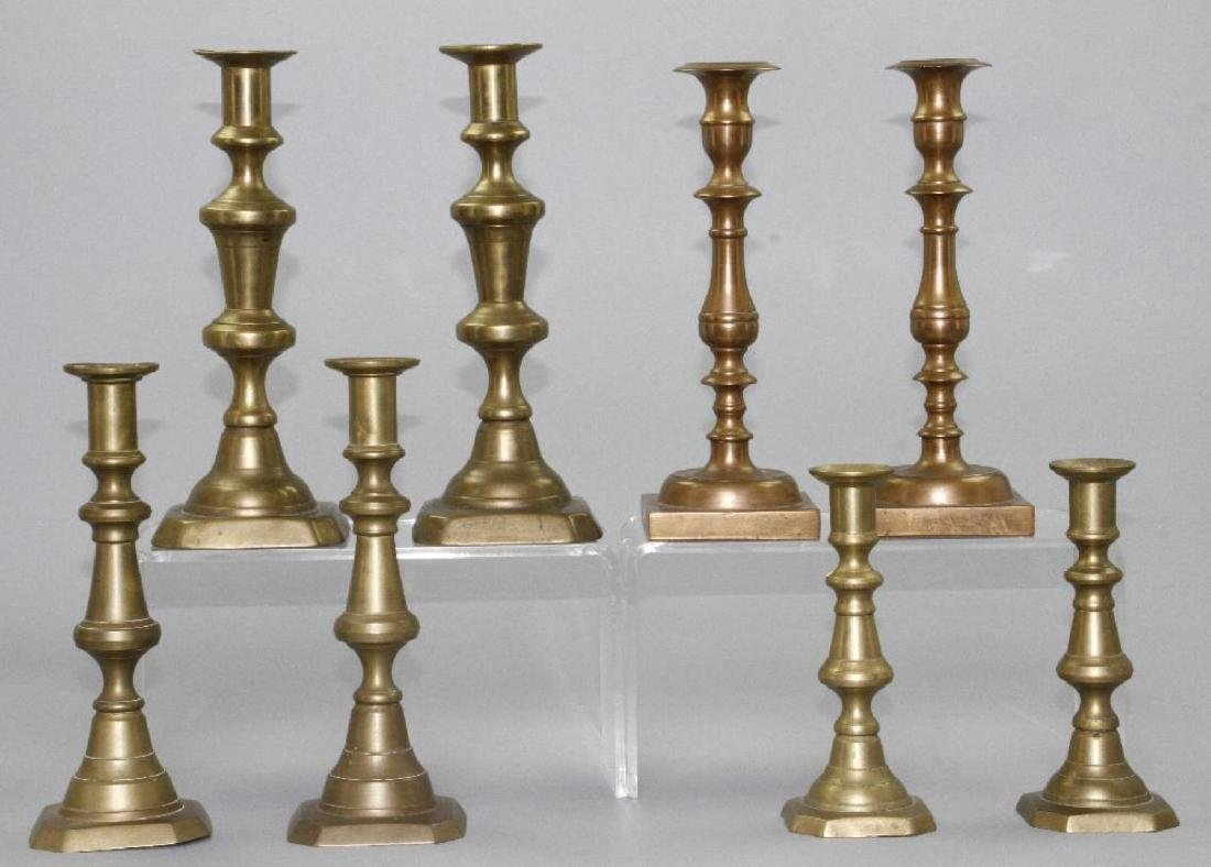 FOUR PAIR OF BRASS AND BELL METAL CANDLESTICK - 2