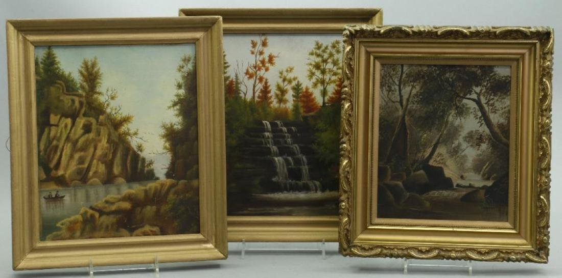THREE OIL ON STUDENT BOARD, LANDSCAPE PAINTINGS