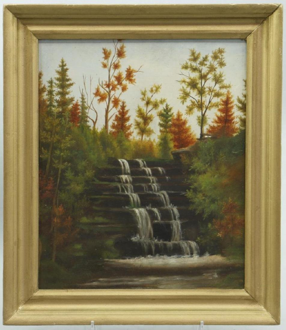 THREE OIL ON STUDENT BOARD, LANDSCAPE PAINTINGS - 3