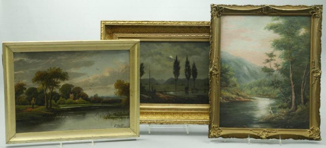 3 AMERICAN OIL LANDSCAPE PAINTINGS