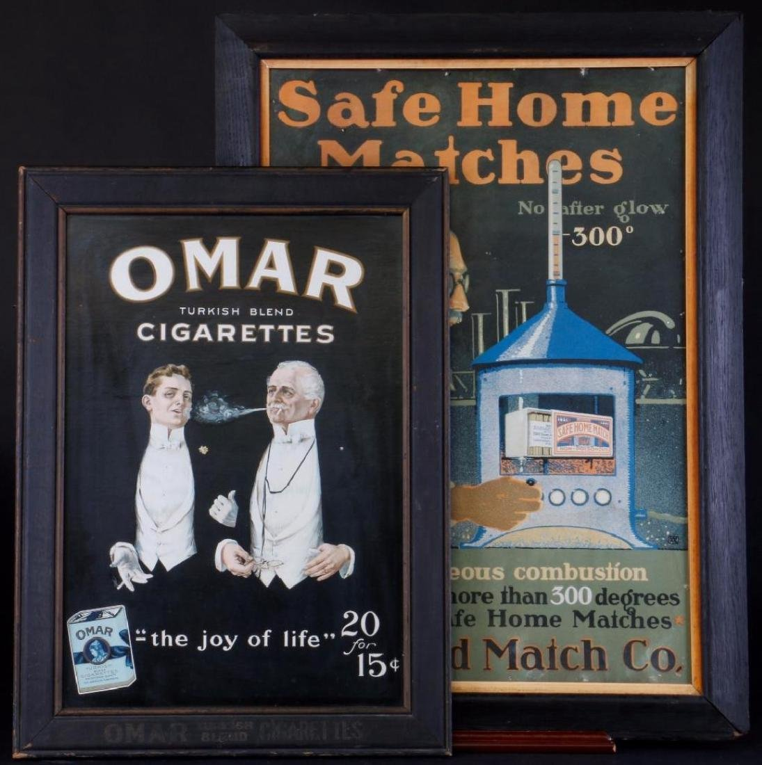 2 ADVERTISING POSTERS CIGARETTES & MATCHES