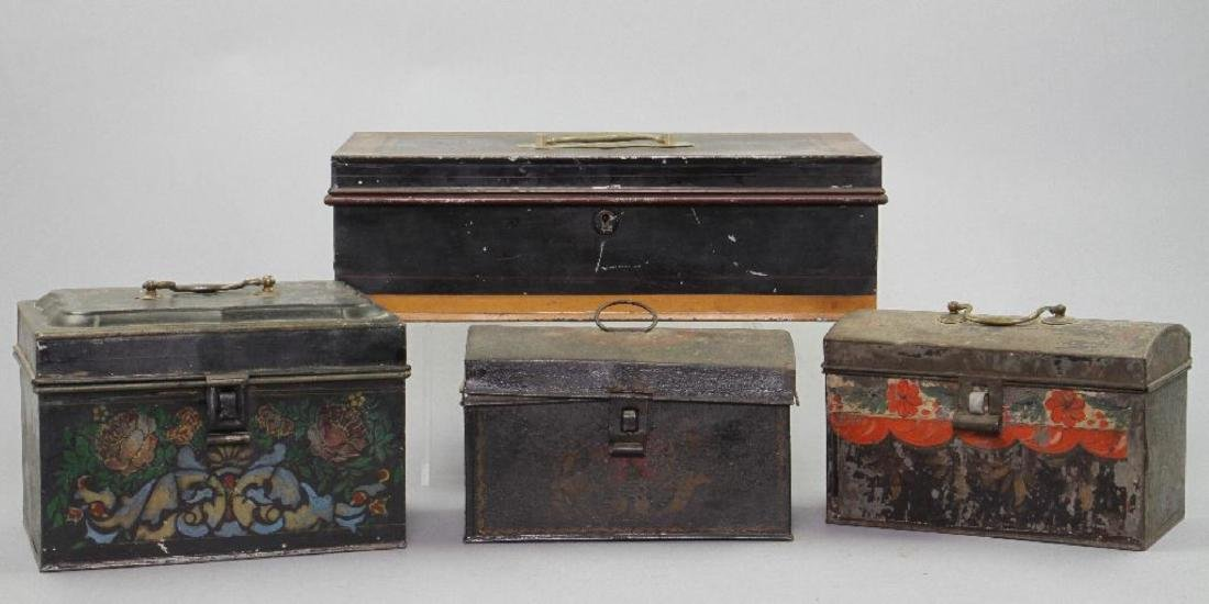 4 AMERICAN PAINTED TIN DOCUMENT BOXES, 19TH CENTURY