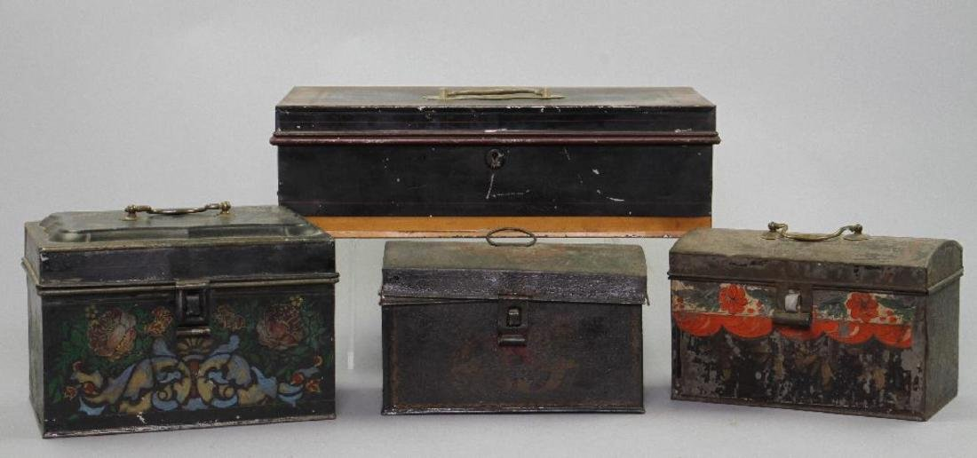 4 AMERICAN PAINTED TIN DOCUMENT BOXES, 19TH CENTURY - 2