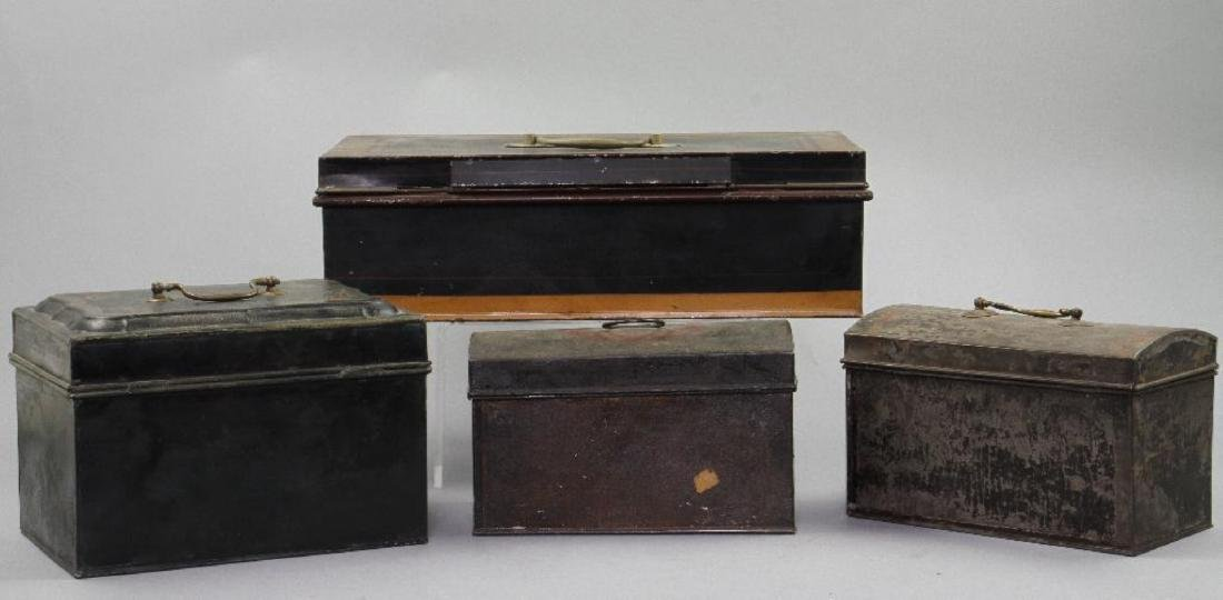 4 AMERICAN PAINTED TIN DOCUMENT BOXES, 19TH CENTURY - 3