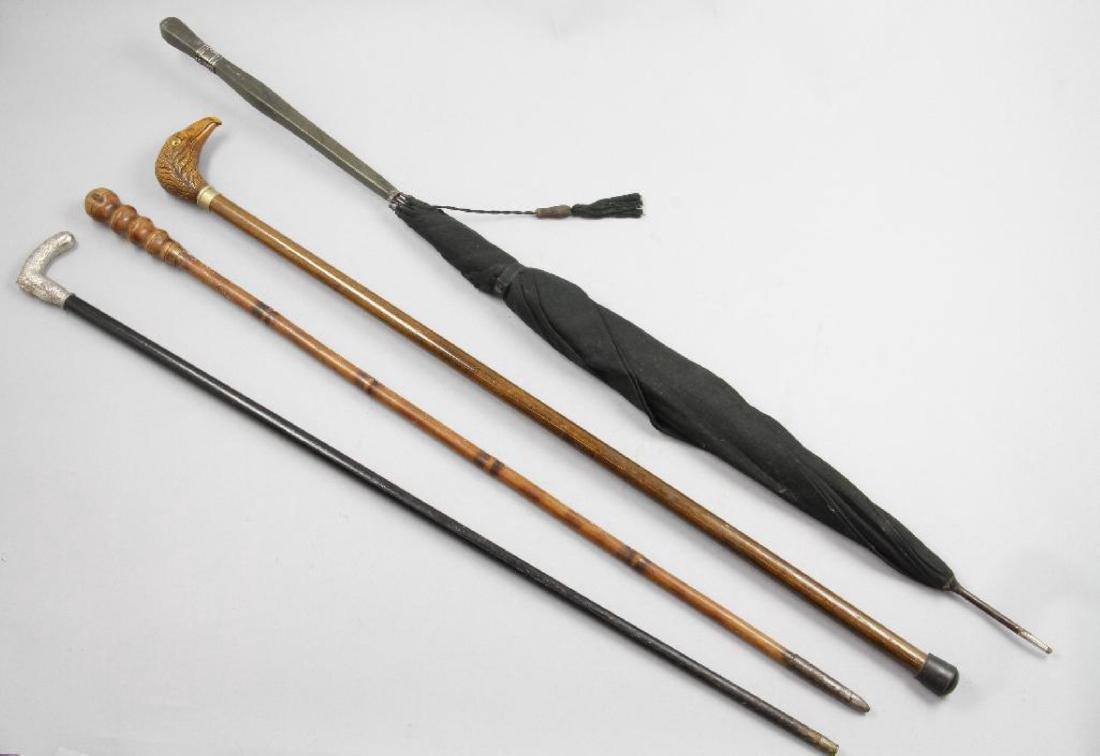 EAGLE HEADED, PATRIOTIC OR BAMBOO CANE & AN UMBRELLA