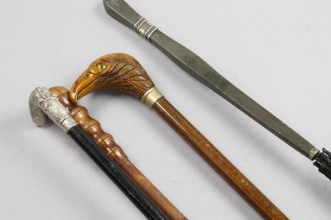 EAGLE HEADED, PATRIOTIC OR BAMBOO CANE & AN UMBRELLA - 4