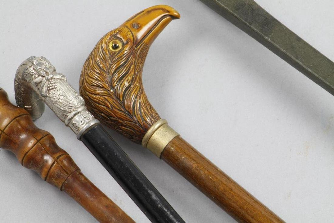 EAGLE HEADED, PATRIOTIC OR BAMBOO CANE & AN UMBRELLA - 5