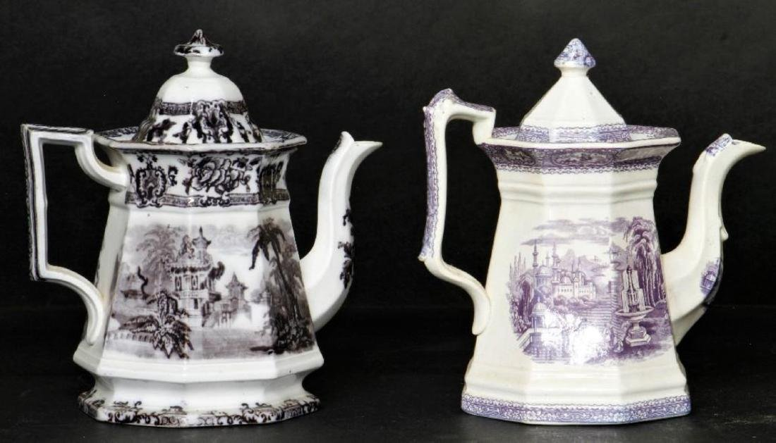 STAFFORDSHIRE DAVENPORT OCTAGONAL TEAPOT & ANOTHER