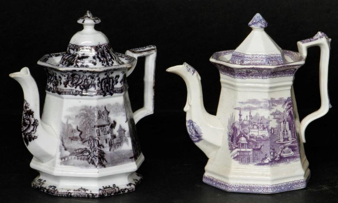 STAFFORDSHIRE DAVENPORT OCTAGONAL TEAPOT & ANOTHER - 2
