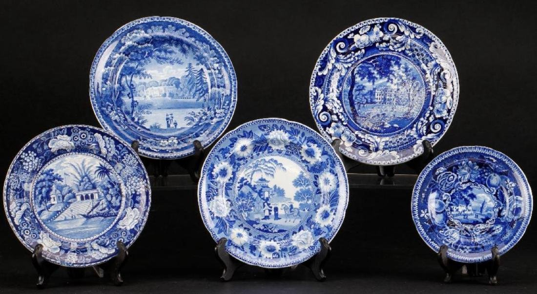 5 STAFFORDSHIRE BLUE & WHITE TRANSFER PRINTED PLATES