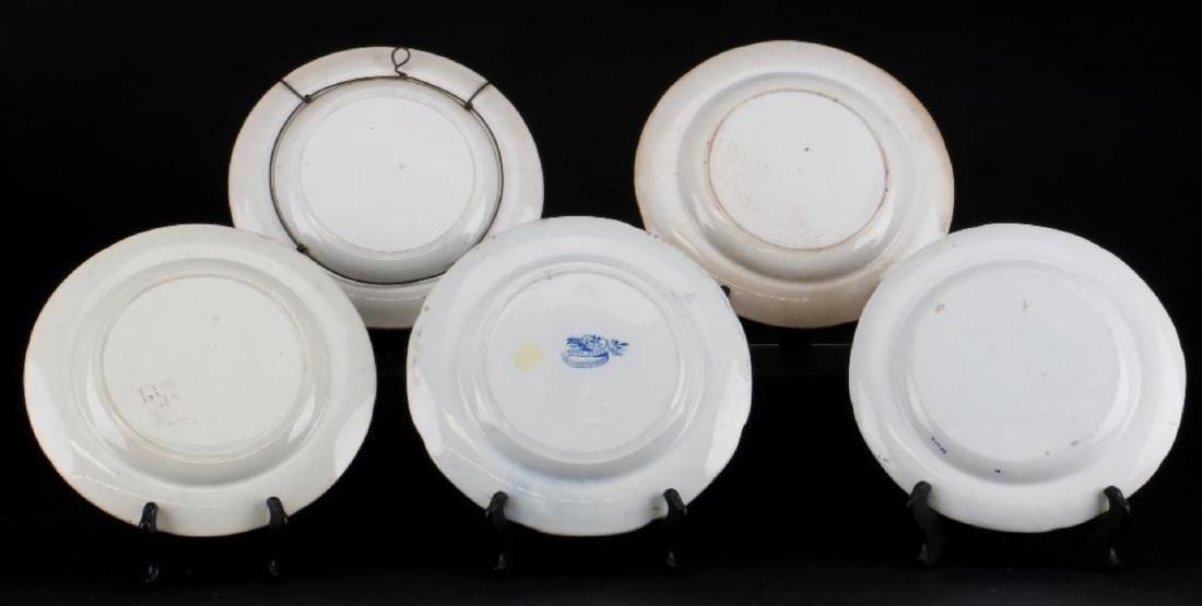 5 STAFFORDSHIRE BLUE & WHITE TRANSFER PRINTED PLATES - 2