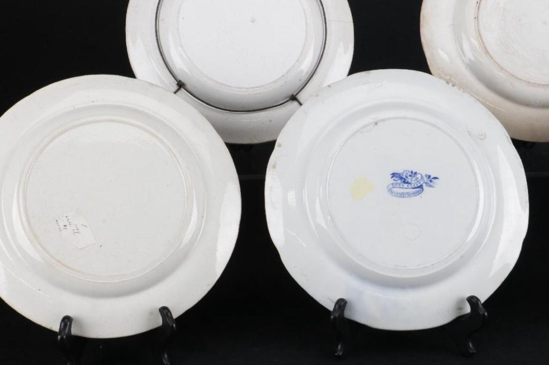 5 STAFFORDSHIRE BLUE & WHITE TRANSFER PRINTED PLATES - 3