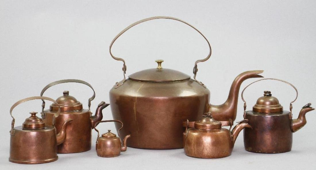6 GRADUATED COPPER KETTLES