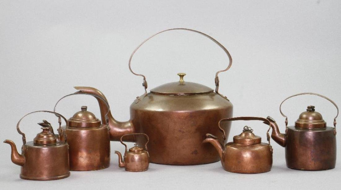 6 GRADUATED COPPER KETTLES - 2