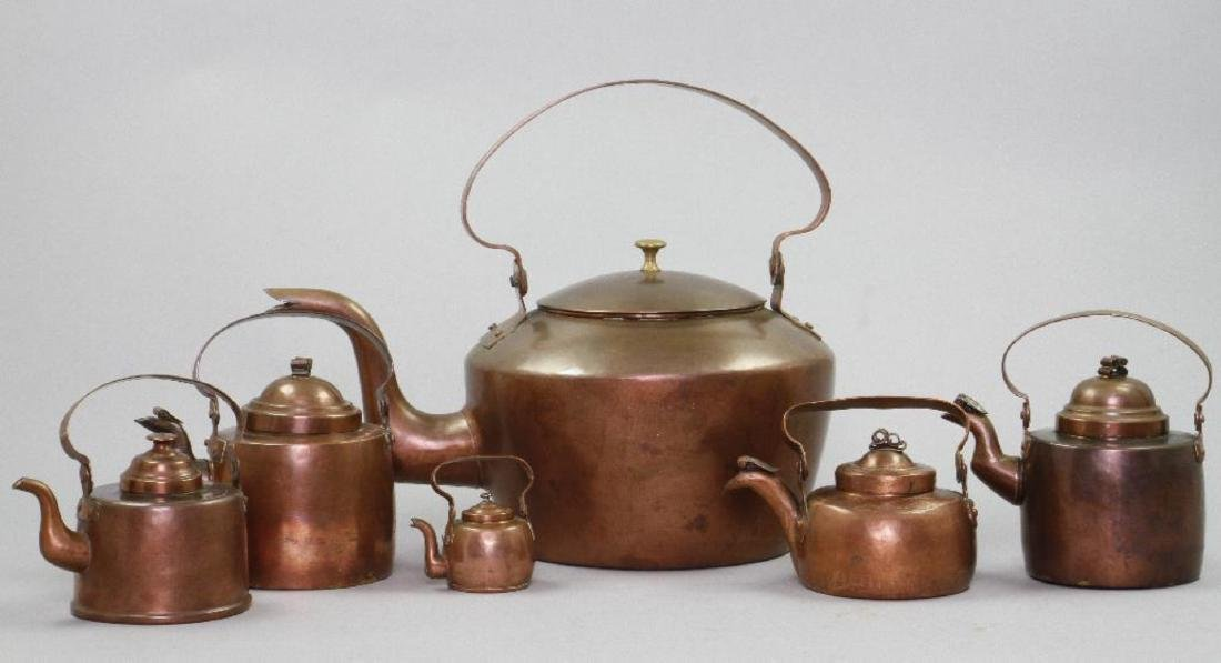 6 GRADUATED COPPER KETTLES - 3