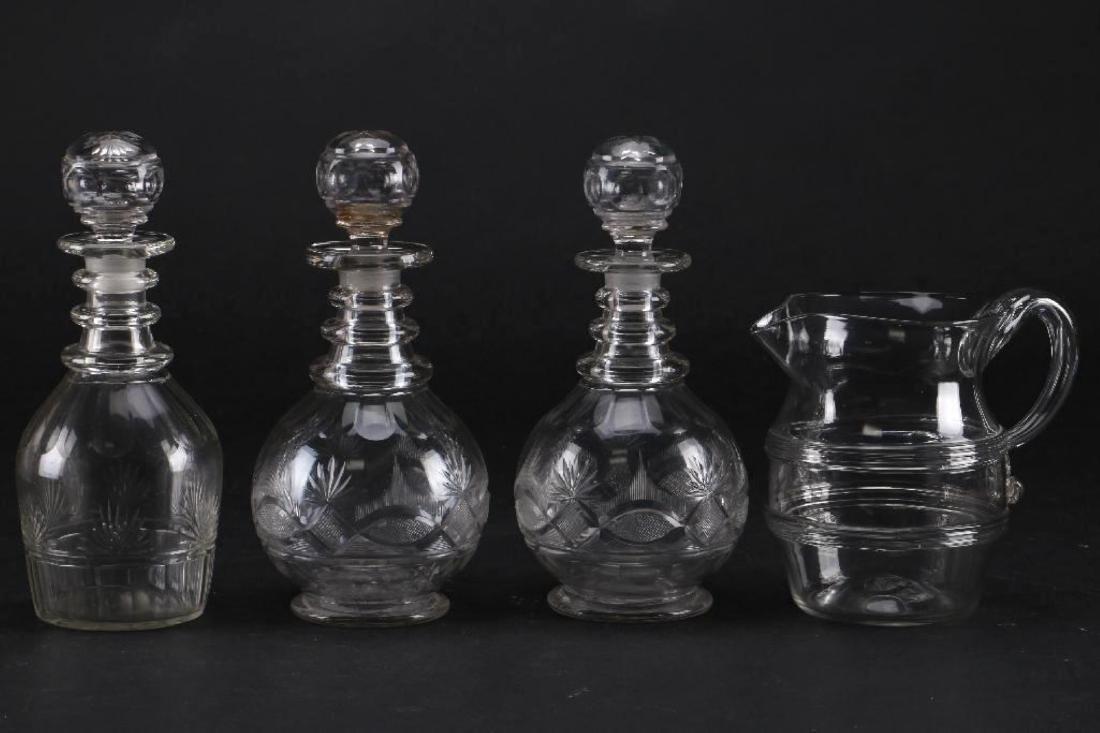 3 CUT GLASS DECANTER & A BLOWN GLASS PITCHER