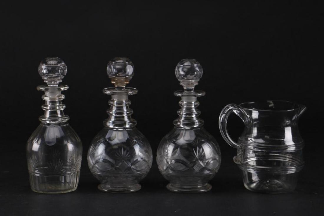 3 CUT GLASS DECANTER & A BLOWN GLASS PITCHER - 4