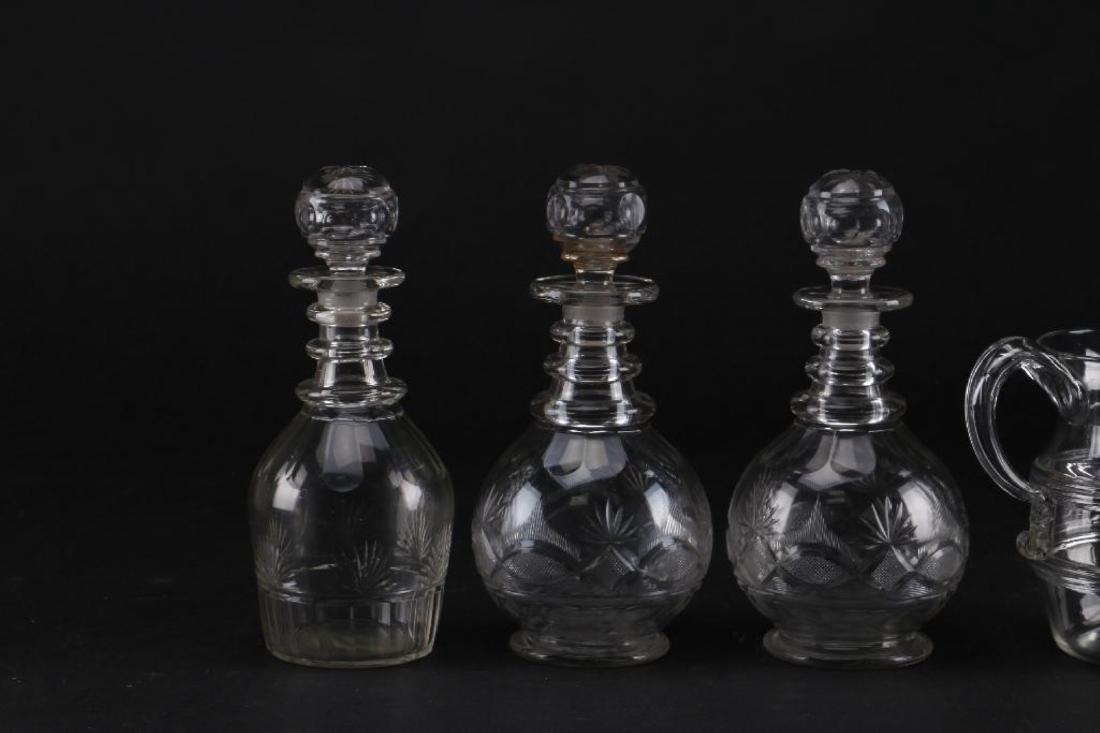 3 CUT GLASS DECANTER & A BLOWN GLASS PITCHER - 5