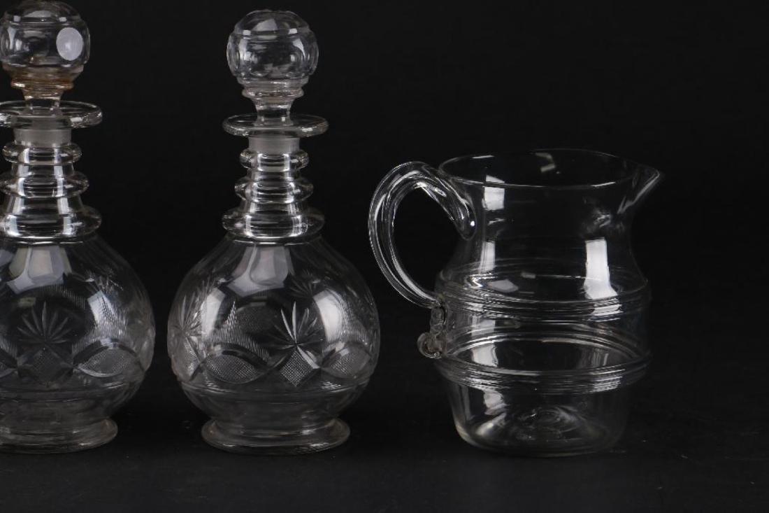 3 CUT GLASS DECANTER & A BLOWN GLASS PITCHER - 6