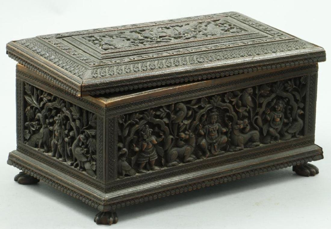 FINE ANGLO INDIAN CARVED SANDALWOOD FITTED CASKET