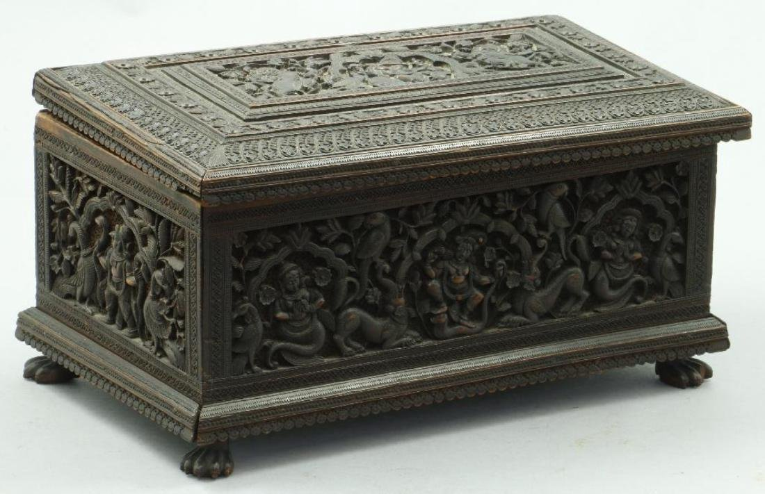 FINE ANGLO INDIAN CARVED SANDALWOOD FITTED CASKET - 2