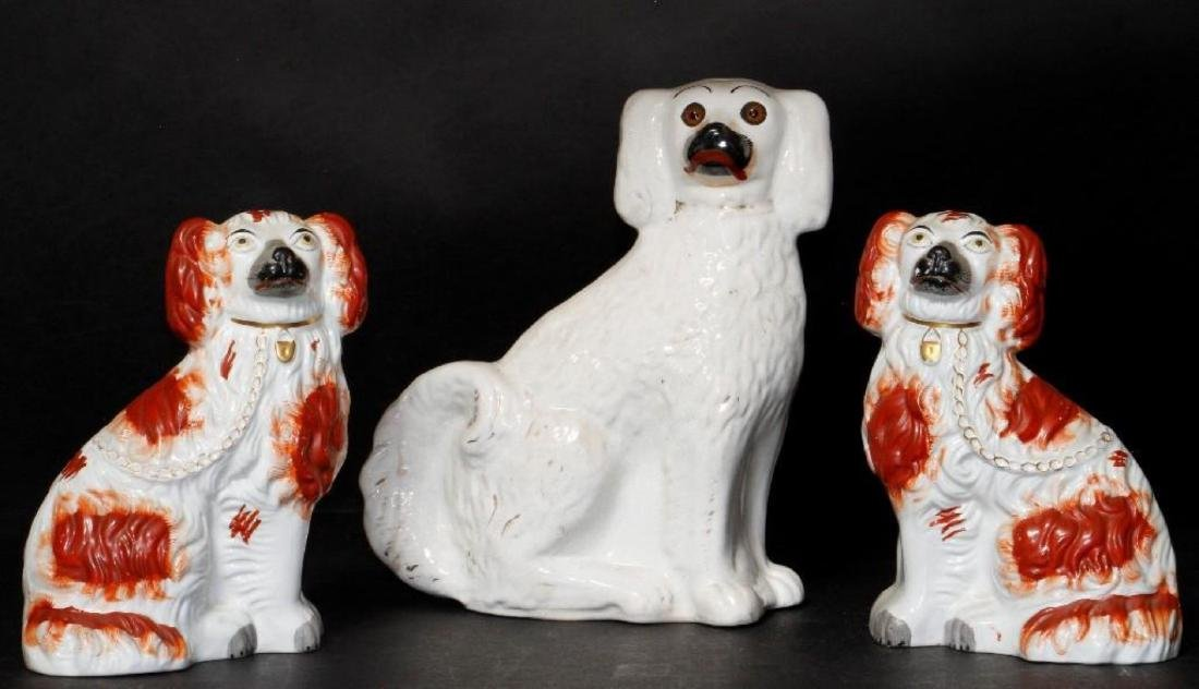 3 STAFFORDSHIRE POTTERY SPANIELS
