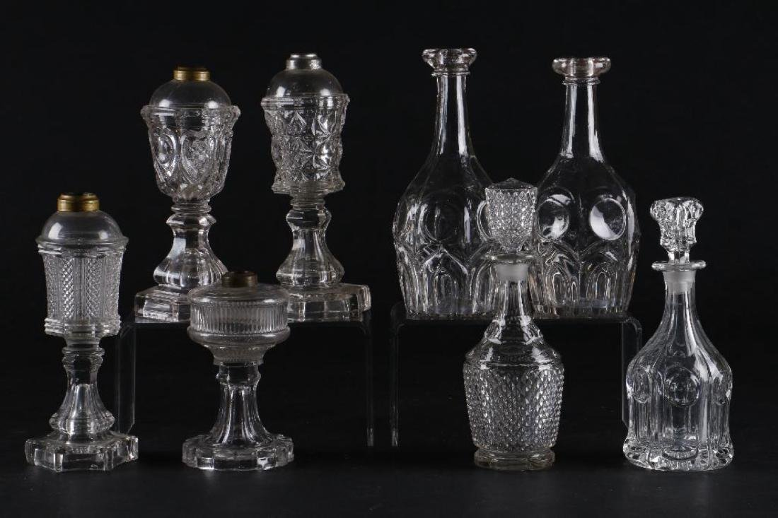4 AMERICAN PRESS MOLDED GLASS FLUID LAMPS & 4 DECANTERS