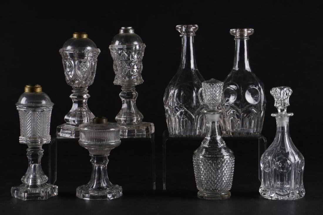 4 AMERICAN PRESS MOLDED GLASS FLUID LAMPS & 4 DECANTERS - 3